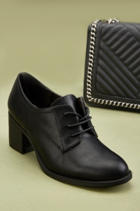 Lace Up Block Heel Oxford Shoes