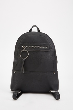 O-Ring Black Textured Backpack
