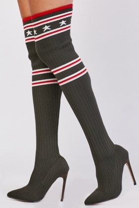 Ribbed Sock Overlay Knee High Shoes