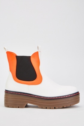 Top Stitched Panel Ankle Boots