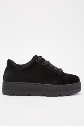 Velveteen Ribbon Lace Up Trainers