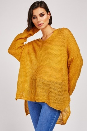 Loose Knit Hi-Low Slouchy Jumper