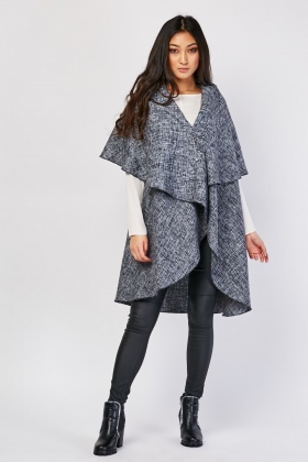 Sleeveless Waterfall Boucle Jacket