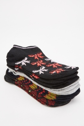 12 Pairs Of Multi Printed Trainer Socks