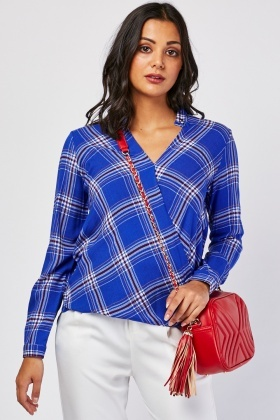 Checkered Wrap Blouse
