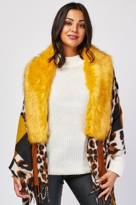Fur Attached Leopard Scarf