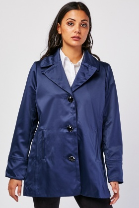 Lapel Front Silky Jacket