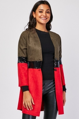 Sequin Colour Block Suedette Jacket