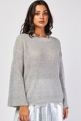 Shimmery Distressed Loose Knit Jumper