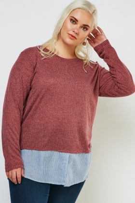 Shirt Insert Rib Knit Top