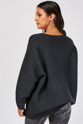 Slouchy Textured Knit Jumper