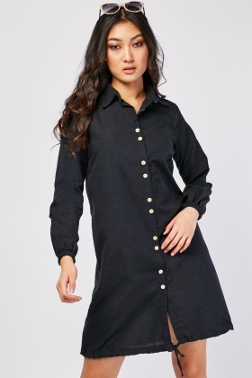 Textured Long Sleeve Shirt Dress