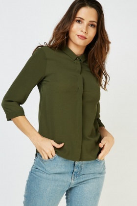 Adjustable Sleeve Chiffon Shirt