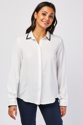 Contrasted Collar Shirt