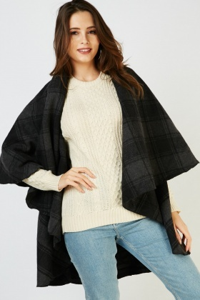 Waterfall Checkered Poncho Catdigan