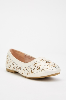 Laser Cut Encrusted Ballet Pumps