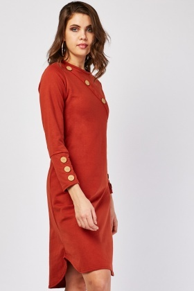 Curved Hem Decorative Button Trim Dress