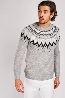 Fair-Isle Pattern Knit Jumper