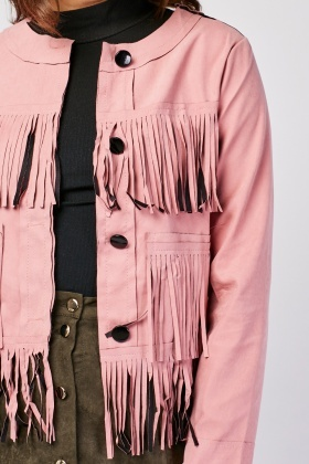 Fringed Suedette Crop Jacket