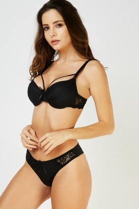Full Cup Lace Panel Bra And Brief Set