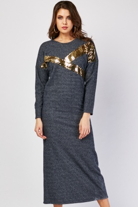 Metallic Contrast Textured Maxi Dress