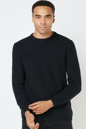 Ribbed Trim Textured Jumper