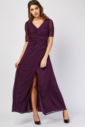 Ruched Draped Front Mesh Dress