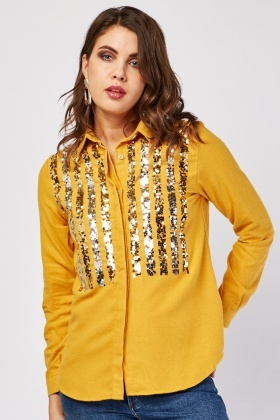 Sequin Embellished Front Shirt