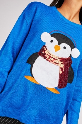 Sequin Penguin Applique Festive Jumper