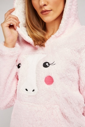 Fluffy Unicorn Ladies Lounge Hoodie
