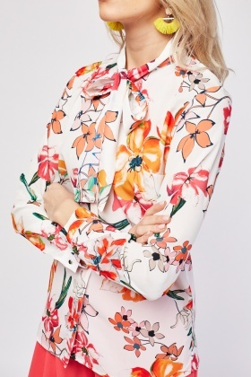 Multiple Flower Print Blouse