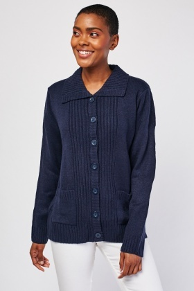Ribbed Contrast Knit Cardigan
