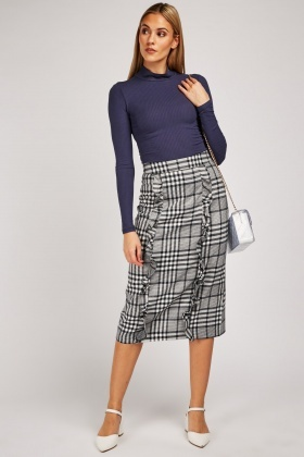 Ruffle Front Midi Plaid Skirt