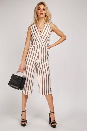 Striped Crop Wrap Jumpsuit