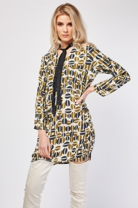 V-Neck Retro Print Silky Dress