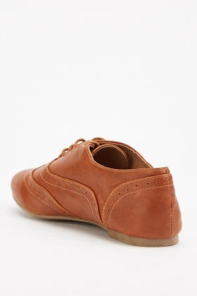 Tan Lace Up Brogue Shoes