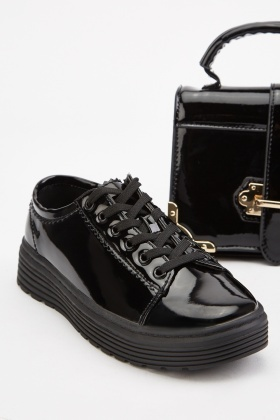 Vinyl Lace Up Platform Sneakers