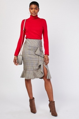 Glen-Check Midi Ruffle Skirt