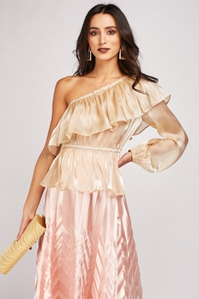 One Shoulder Shimmery Organza Blouse