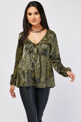 Tie Up Front Snake Print Blouse