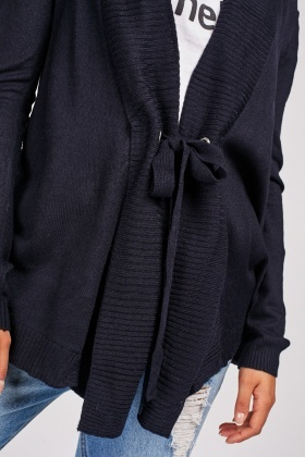 Tie Up Eyelet Trim Cardigan