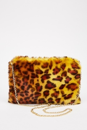 Fluffy Leopard Print Chain Strap Bag