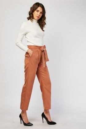 Belted Straight Cut Trousers