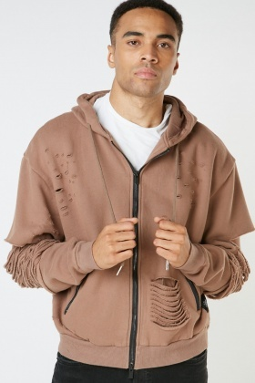 Brown Distressed Zipper Hoodie