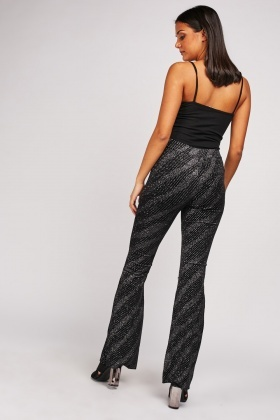Glitter Pattern Flared Trousers