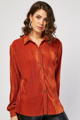 Long Sleeve Plisse Shirt