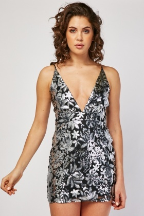 Sequin Embellished Low Plunge Slip Dress