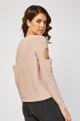 Shimmery Cut Out Sleeve Knit Sweater