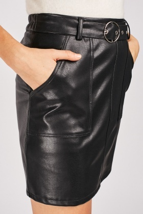 Buckled Faux Leather Skirt