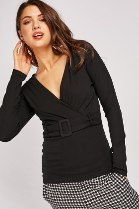 Buckled Front Jersey Wrap Top